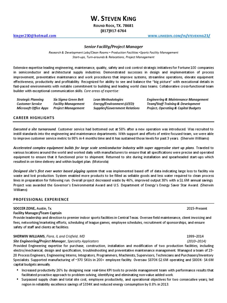 Download Project Manager Civil Engineering in Austin TX Resume ...