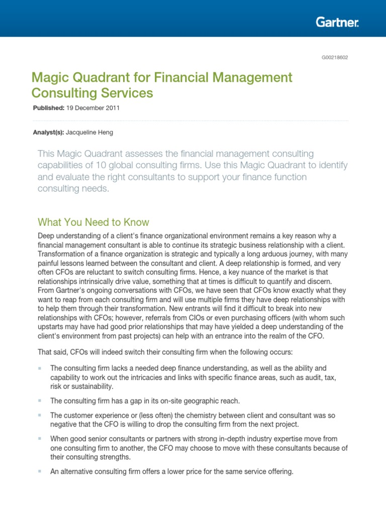Management Consulting Services : Gartner magic quadrant for financial management consulting