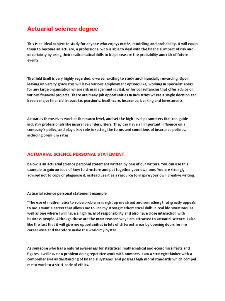ucas personal statement actuarial science