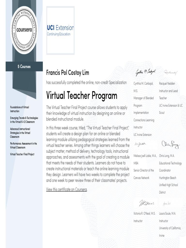 Coursera Virtual Teacher Program 2015 Docshare