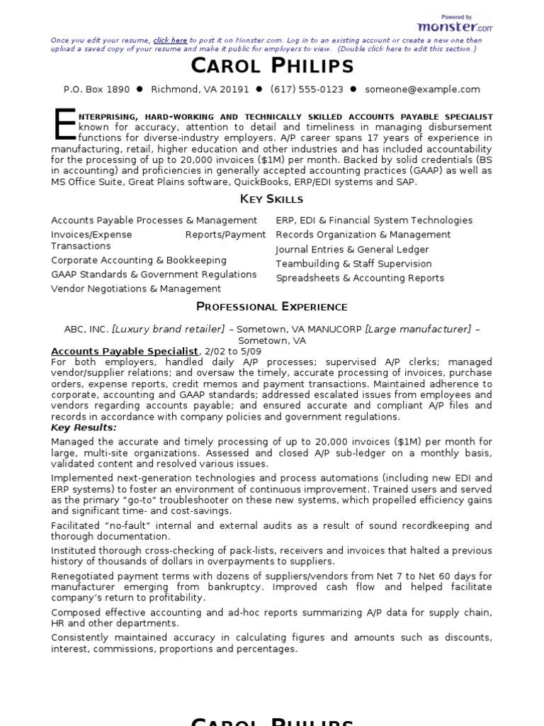 cv accounts payable specialist resume - Accounts Payable Specialist Resume