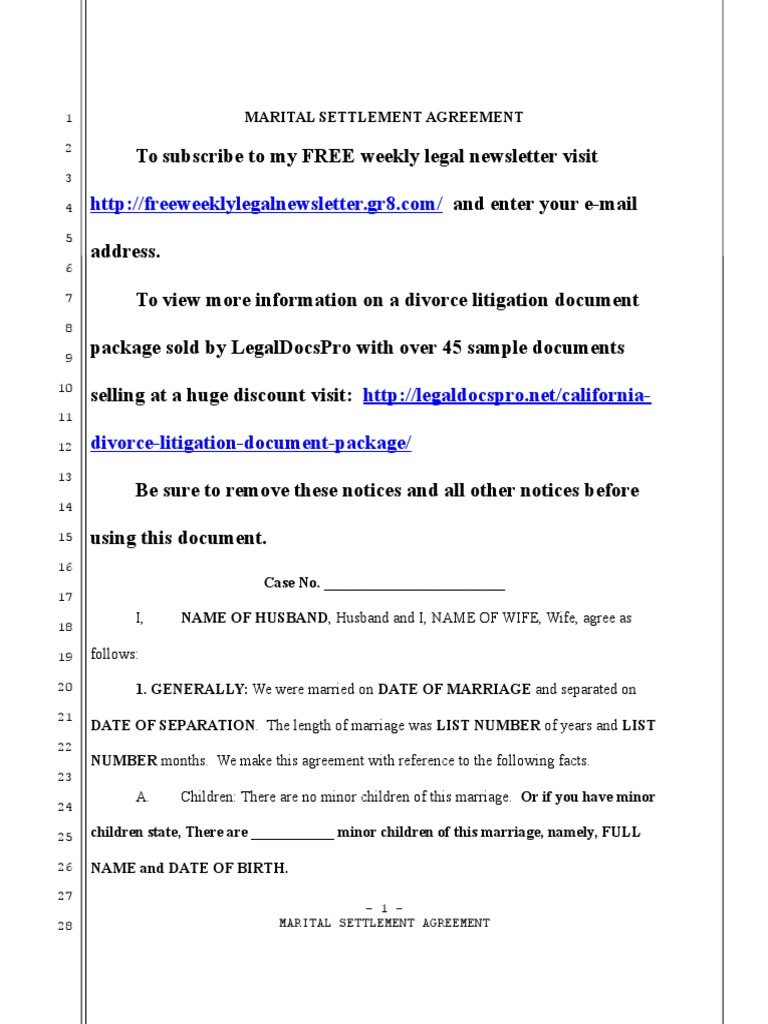 Download Sample Settlement Agreement And Mutual General Release For