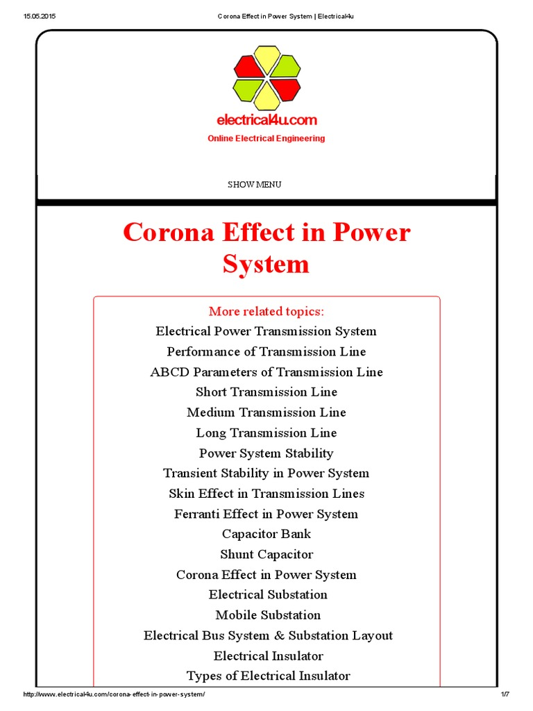 Download Corona Effect in Power System _ Electrical4u