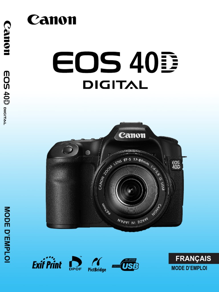 Canon EOS 400D Service Manual and Repair Guide. Canon English Edition.  Manuel Utilisateur Canon EOS 40D