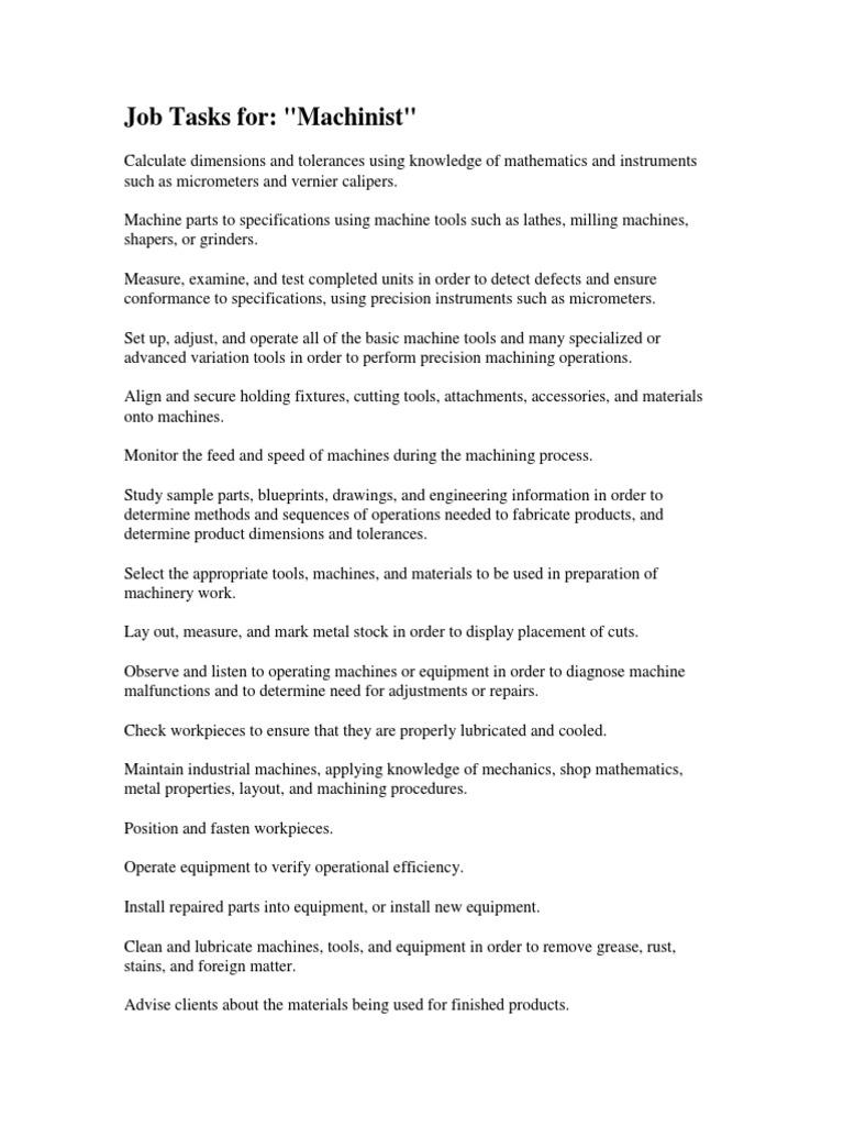 job description of machinist - Machinist Job Duties