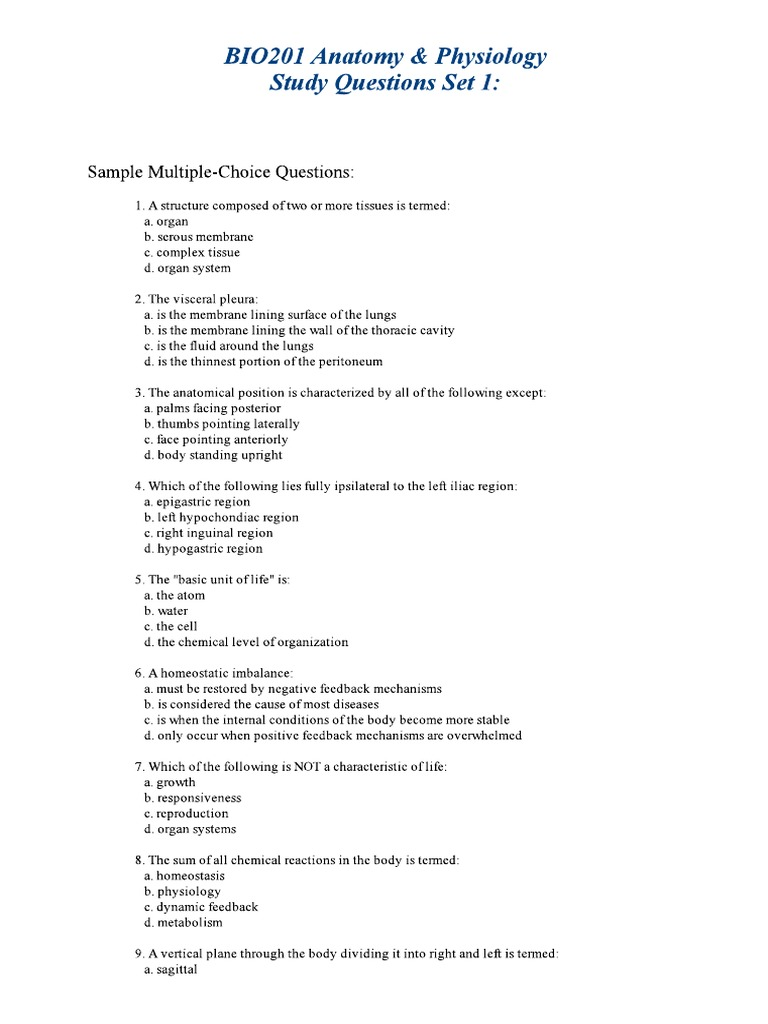 Anatomy Physiology Study Questions Docshare