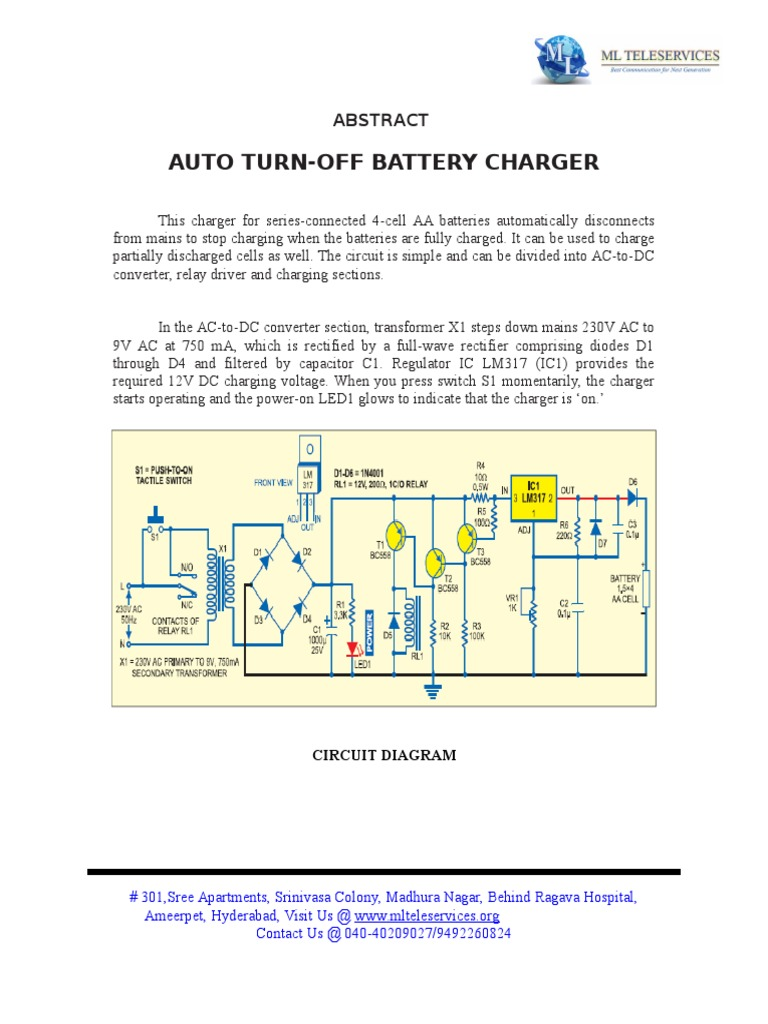 Download Auto Turn Off Battery Charger Circuit Using Lm317