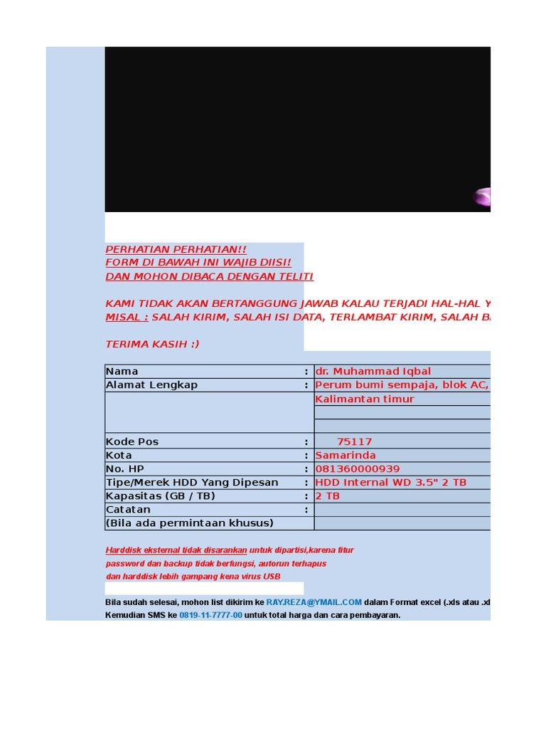 orderan HDD Internal WD 2 TB + Film.xlsx - DocShare.tips b80d3cd9a2fb1