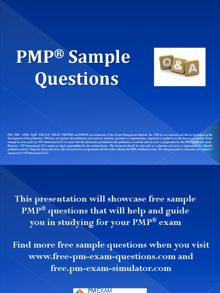 Pmp Five Sample Questions Docshare