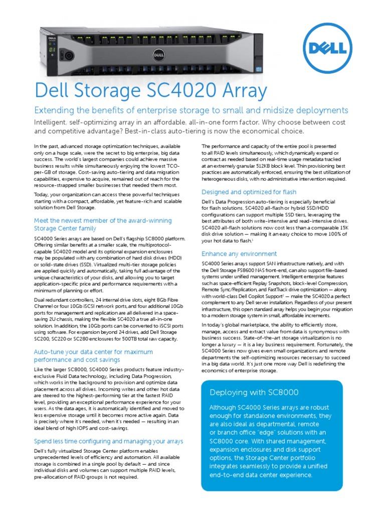 DellStorage SC4020 Spec Sheet 030714 - DocShare tips