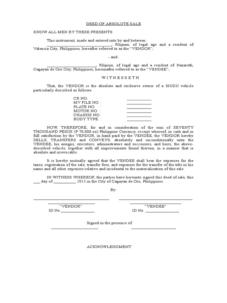 download deed of absolute sale motor vehicle sample docshare tips