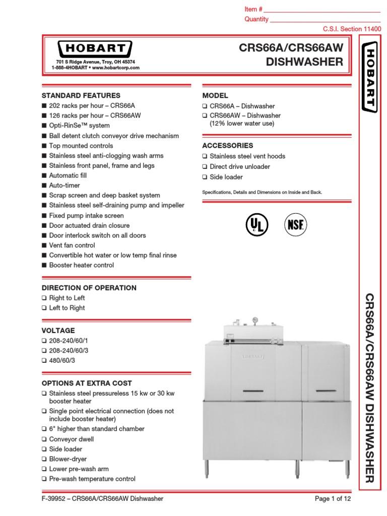Download Hobart Dishwasher DocSharetips