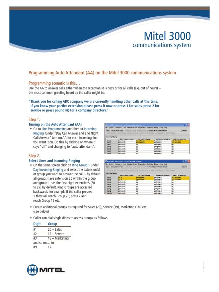 Mitel 3000 Automated Attendant Programming Instructionspdf
