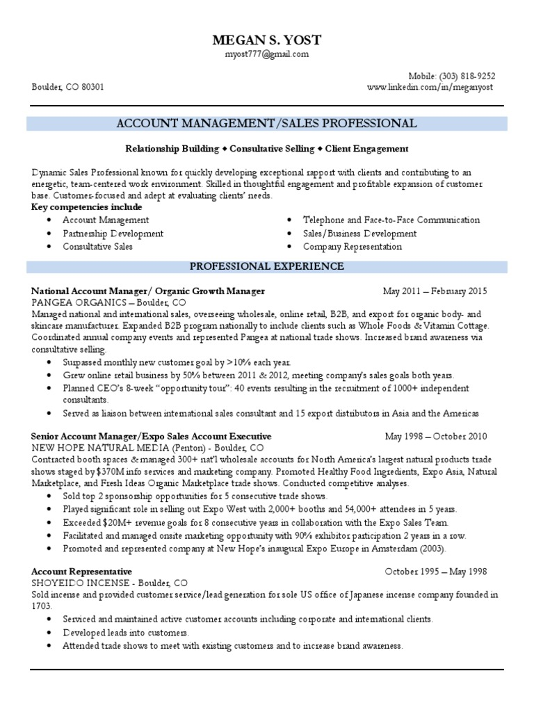 territory sales account manager in denver co resume megan