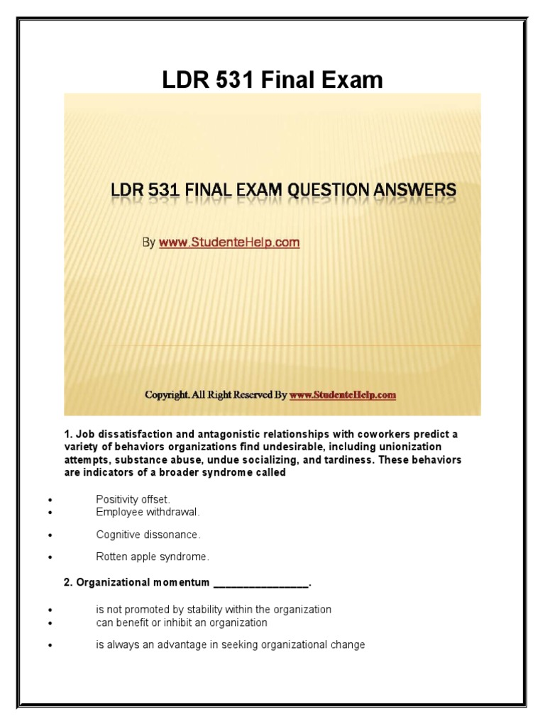 ldr 531 exam Wwwstudentwhizcom university of phoenix latest tutorials ldr 531 final exam questions answers and entire course to download now .