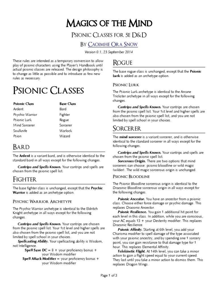 5e Houserule Psionic Classes - DocShare tips