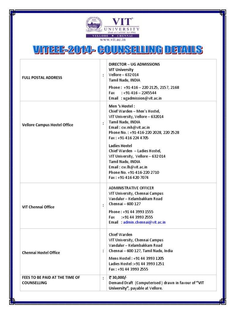 VIT Counselling Details - DocShare tips