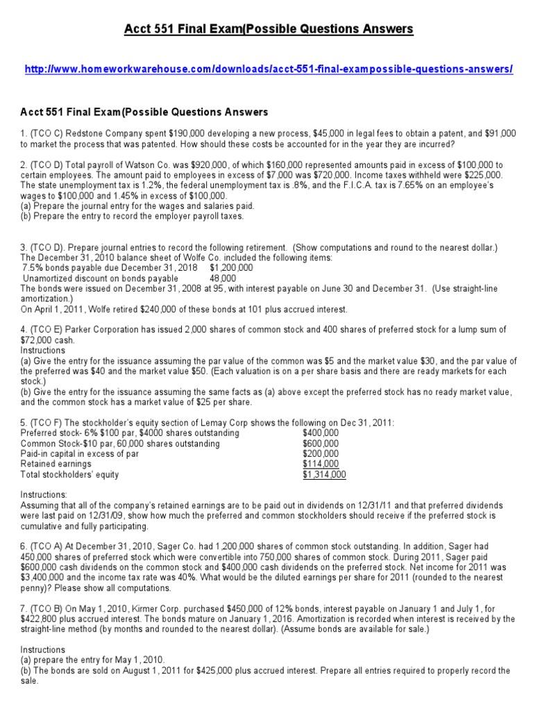 Acct 551 Final Exam - DocShare tips