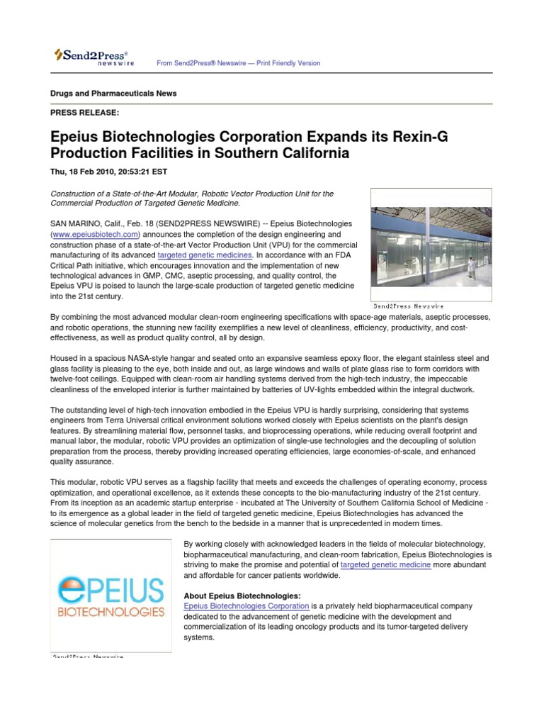 Epeius Biotechnologies Corporation Expands its Rexin-G Production ...