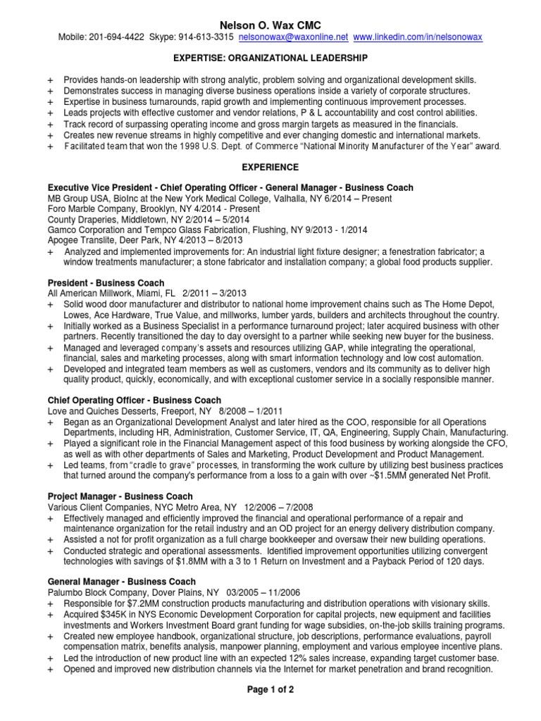 vp of operations resume
