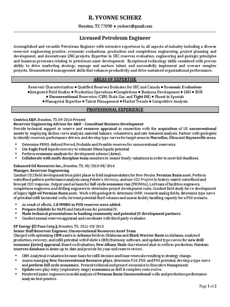 Unique Reservoir Engineer Resume Collection - Professional Resume ...