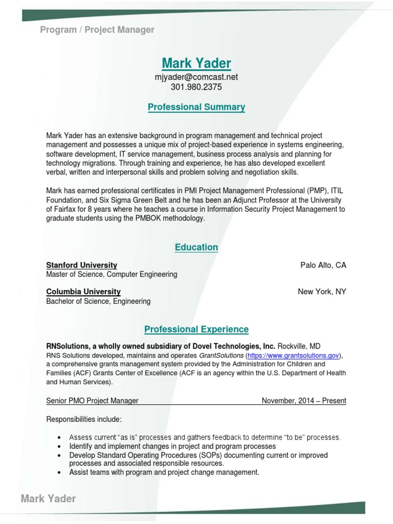 Download Director Project Manager Pmo In Columbia Sc Resume Manuela