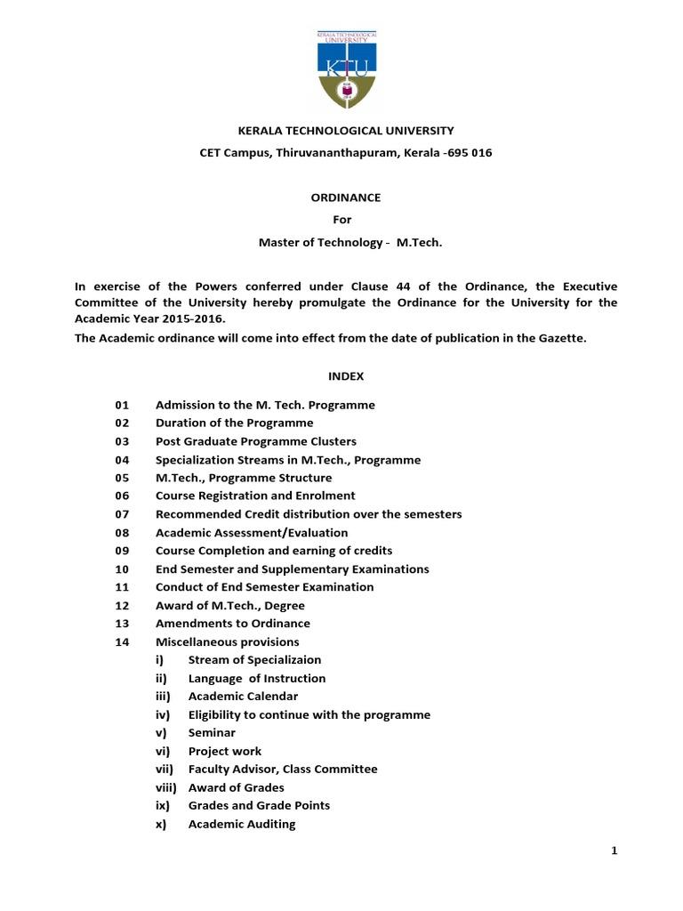 ordinance for master s degree program
