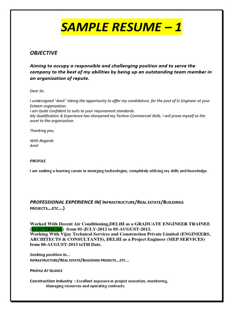 Resume examples for construction