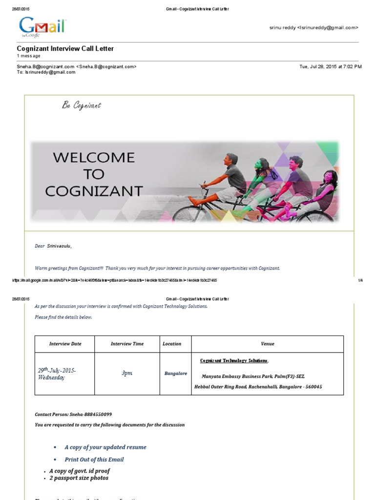 Download Gmail - Cognizant Interview Call Letter - DocShare.tips