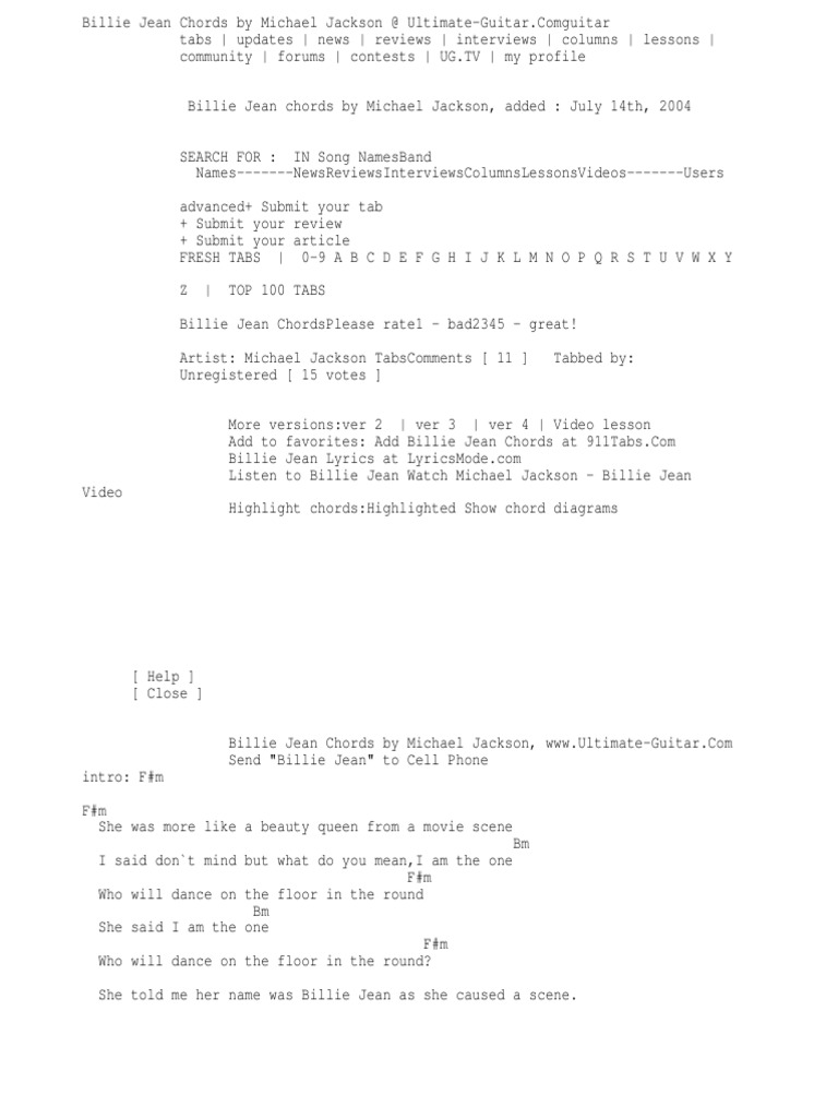 Billie Jean Chords By Michael Jackson Docshare