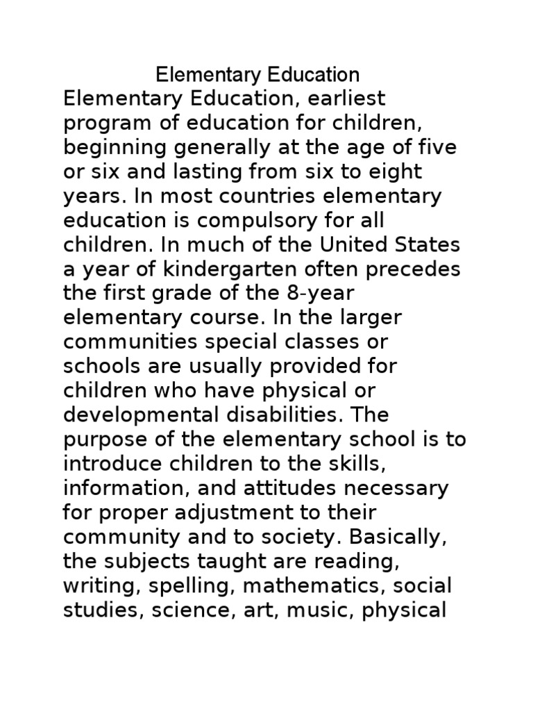 an analysis of elementary education as the first phase of compulsory education Subjects in the compulsory phase of secondary education comparative overview on instruction time in full the first eight years of compulsory education.