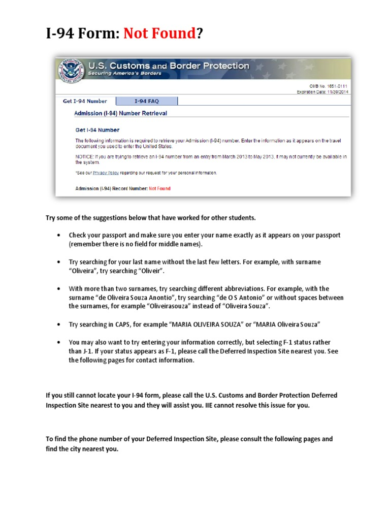 i 94 form record not found  I-13 Form Error Deferred Inspection Sites - DocShare.tips