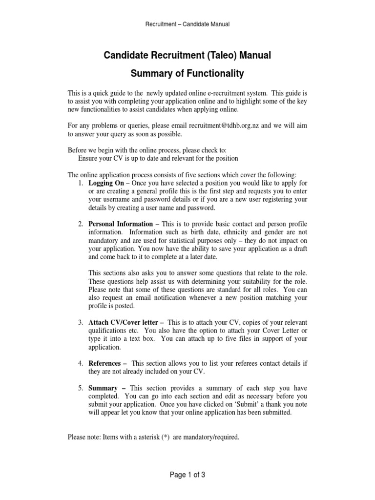 Candidate Taleo Manual Section1 Summary - DocShare tips