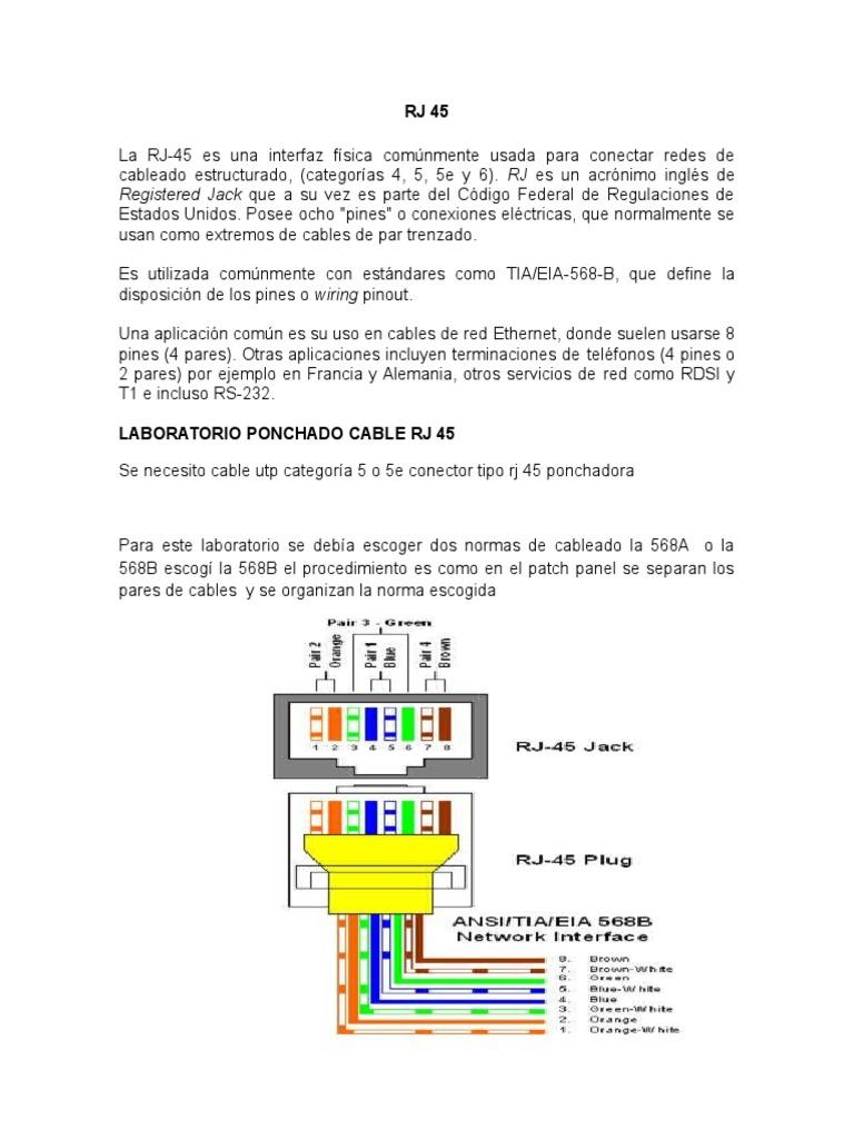 Download Rj45 Eia 568b Wiring Laboratorio De Ponchado