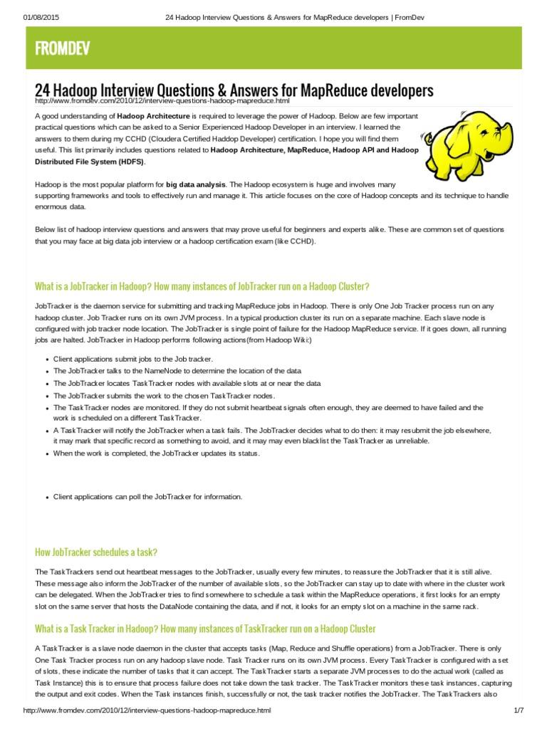 hadoop mapreduce framework in big data analytics 24 hadoop interview questions answers for mapreduce developers fromdev