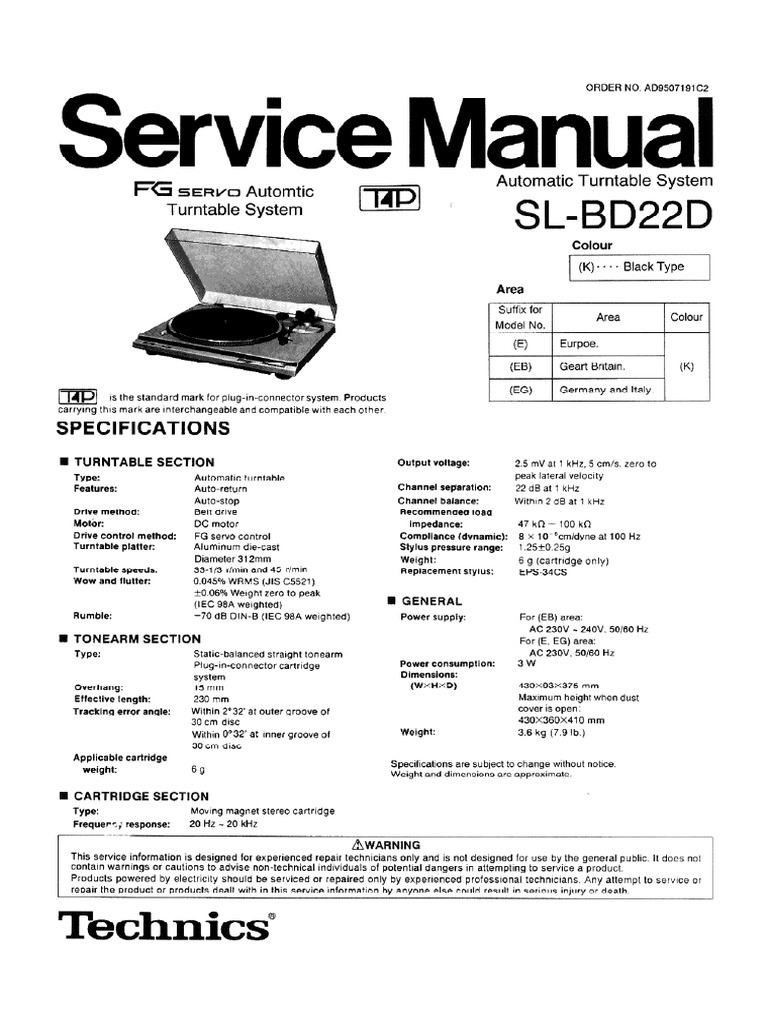 Technics SL-BD22D Turntable - Service Manual - DocShare tips