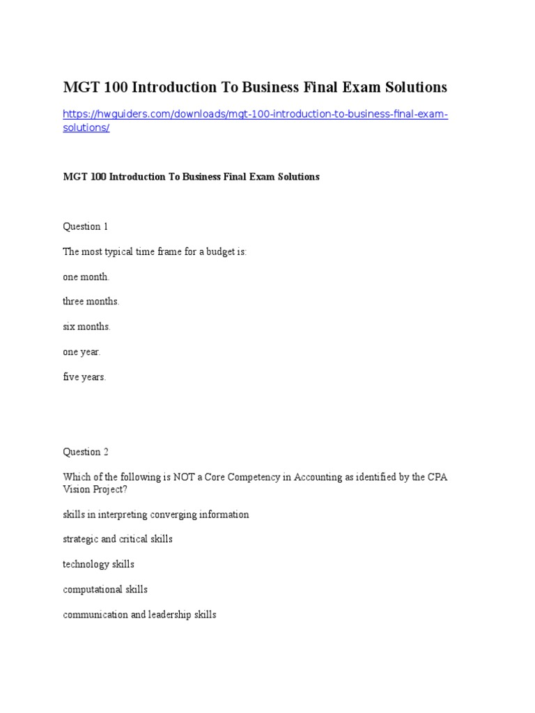 Download MGT 100 Introduction to Business Final Exam Solutions
