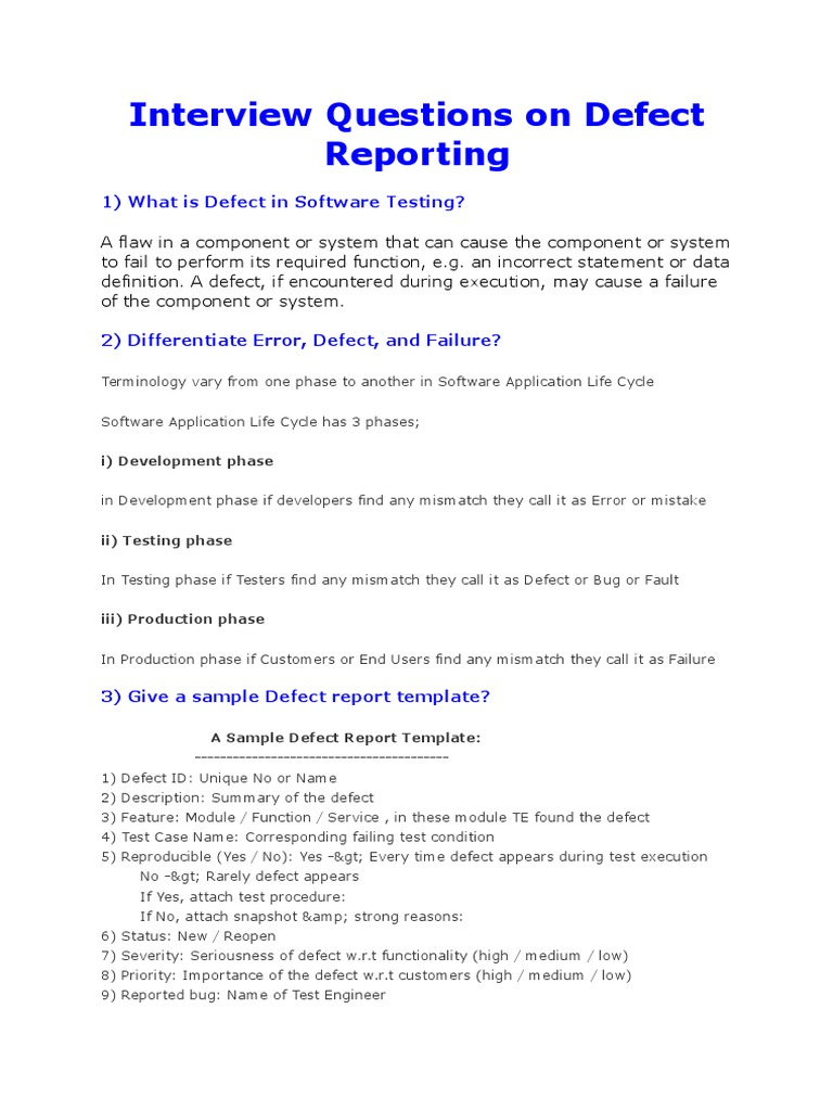 Defect Tracking Interview Questions