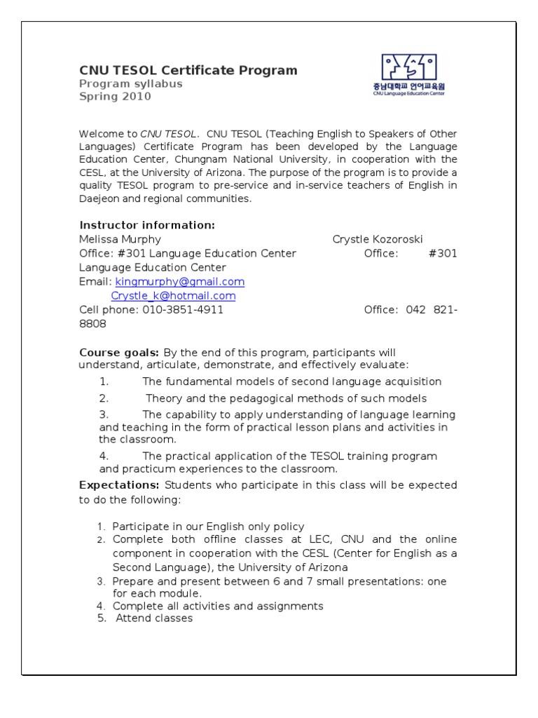 Download Cnu Tesol Certificate Program Docshare