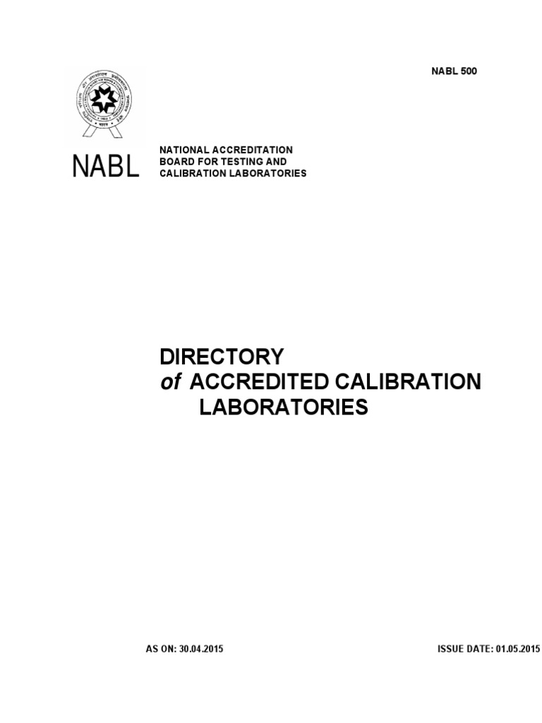 NABL 500 Directory of Accredited Calibration Laboratories as on