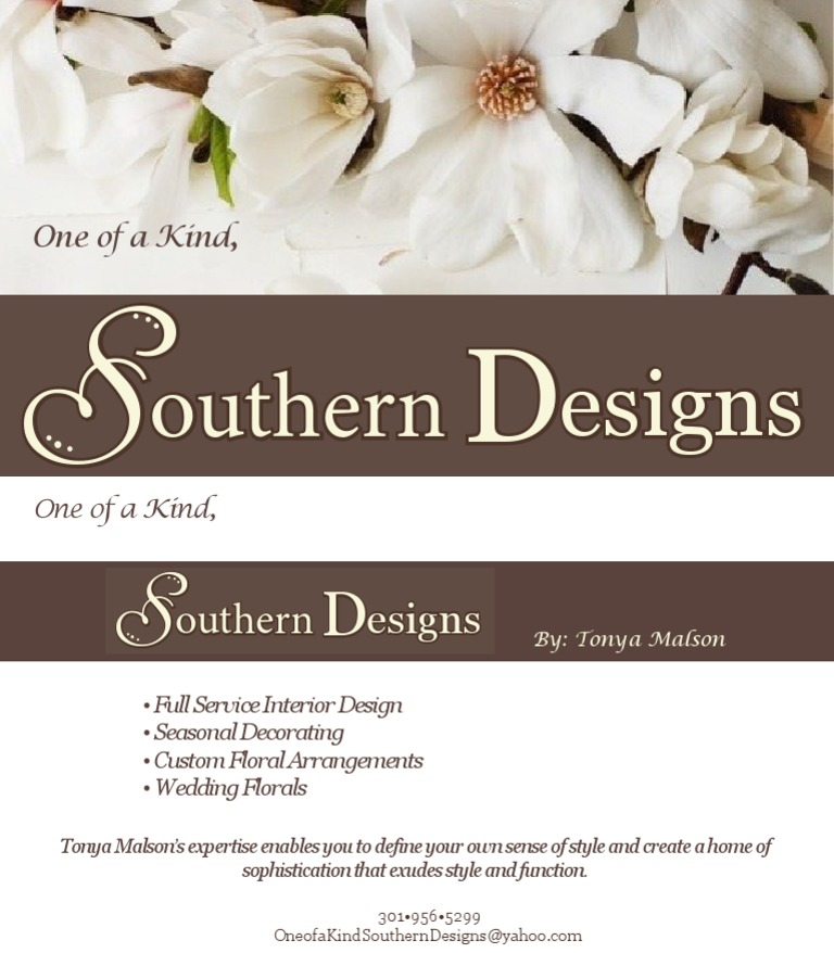 Southern designs business card for Southern designs