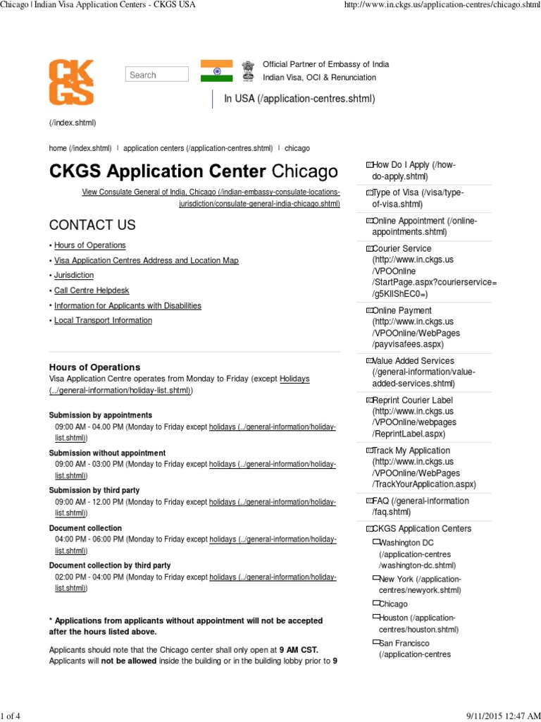 Chicago - Indian Visa Application Centers - CKGS USA
