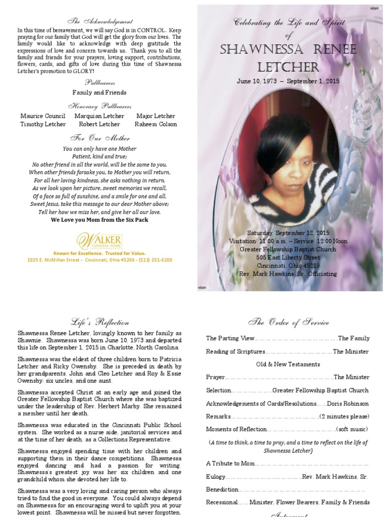 Shawnessa Renee Letcher Funeral Program - DocShare tips