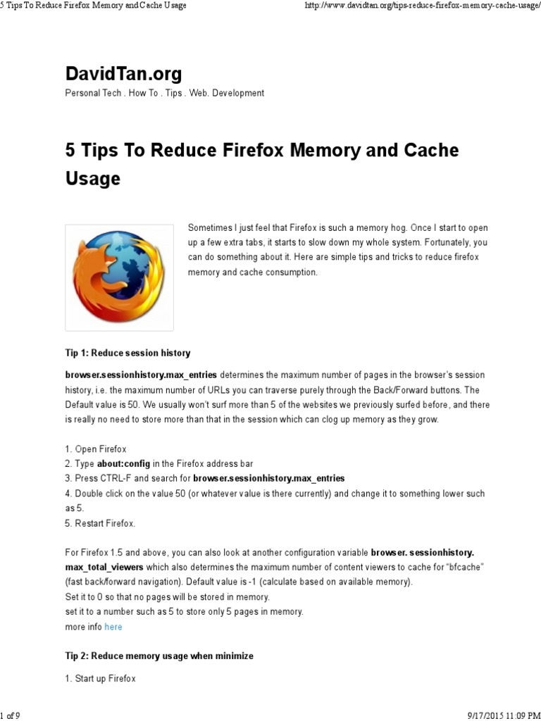 How to use scrapbook in firefox - 5 Tips To Reduce Firefox Memory And Cache Usage