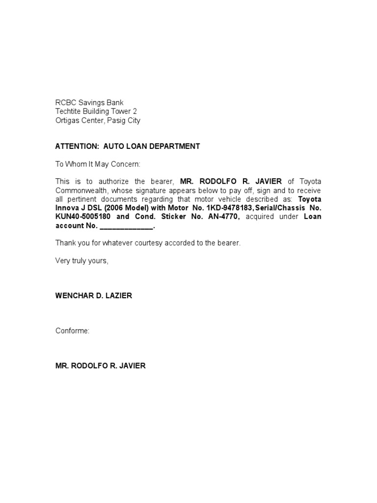 Authorization letter for car loanc docshare mitanshu Images