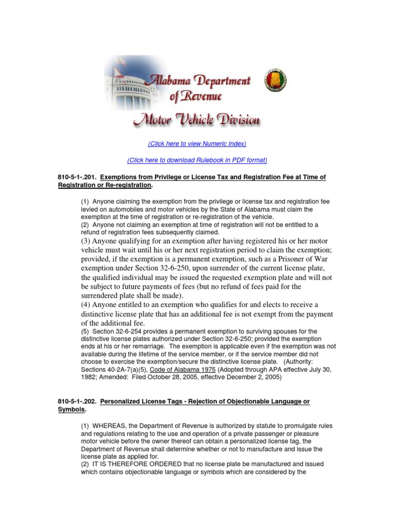 Alabama Motor Veicle Division Rulebook Docshare