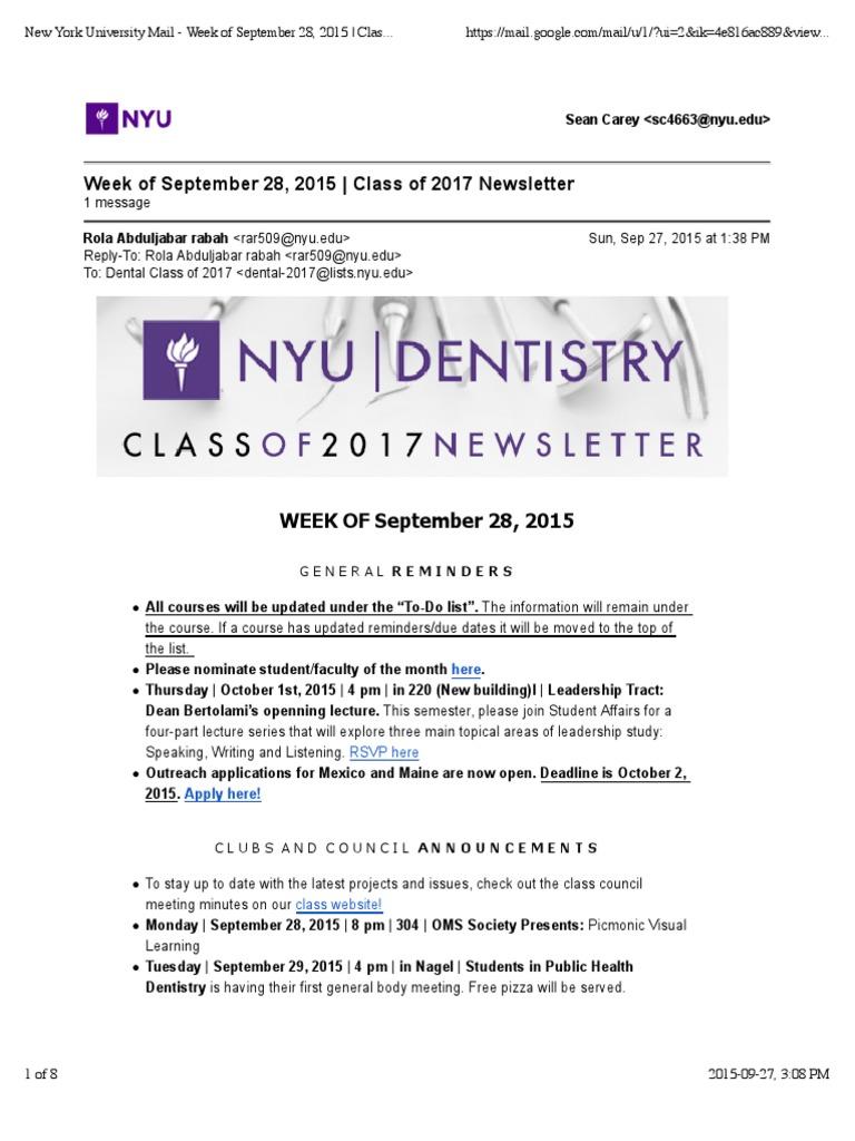 New York University Mail - Week of September 28, 2015 | Class of ...