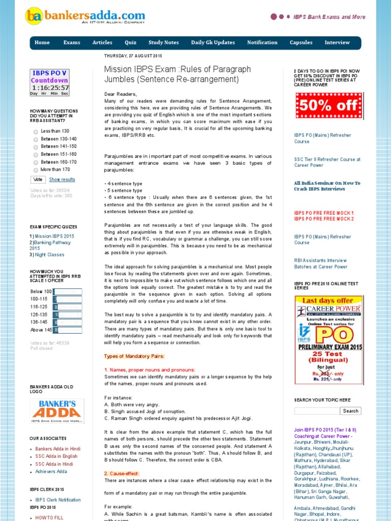Download Bankers Adda Mission Ibps Exam Rules Of Subject Verb