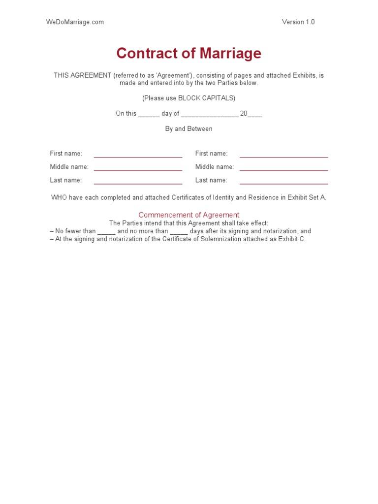 WeDo Marriage Contract Template