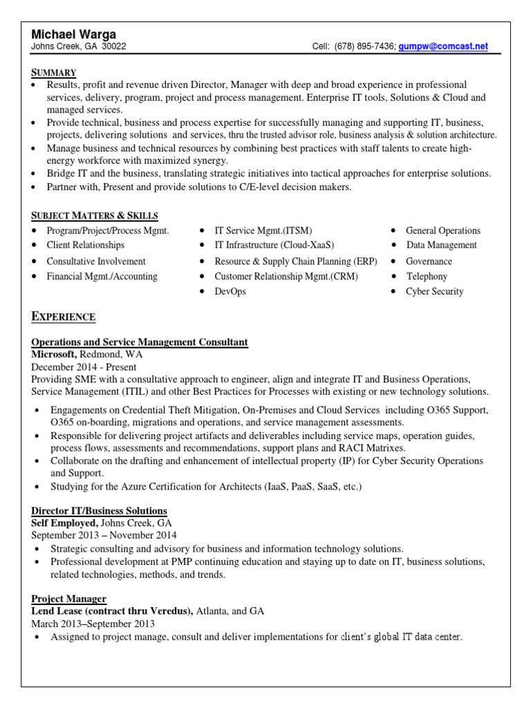 Download Director Project Management Operations in Atlanta GA Resume ...